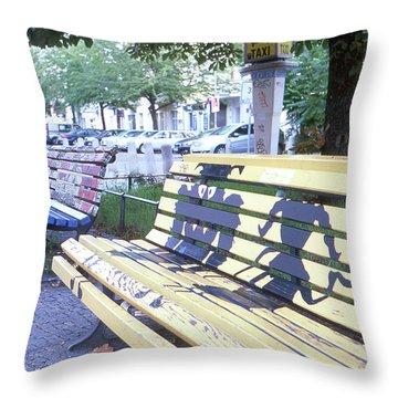 Bench Graffiti Throw Pillow