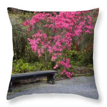 Bench In Azalea Garden Throw Pillow