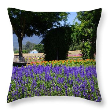 Bench In Flowers Throw Pillow