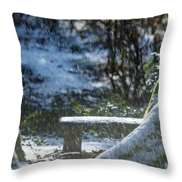 Throw Pillow featuring the photograph Bench In Snow by Rebecca Cozart