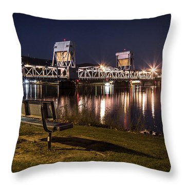 Bench In The Dark Throw Pillow by Brad Stinson