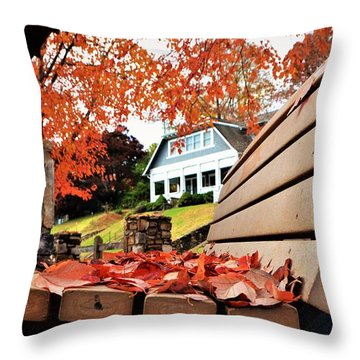 Bench Leaves Throw Pillow