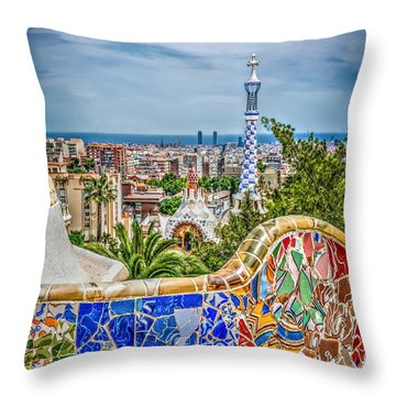 Bench Of Barcelona Throw Pillow
