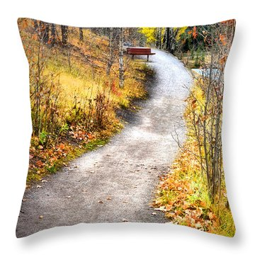 Bench On A Hill Throw Pillow