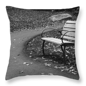 Bench On The Walk Throw Pillow