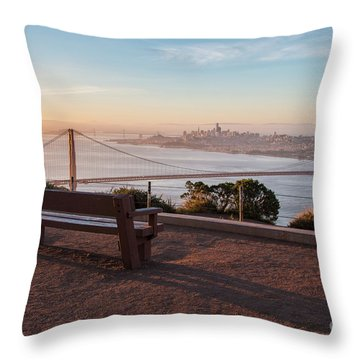 Bench Overlooking Downtown San Francisco And The Golden Gate Bri Throw Pillow