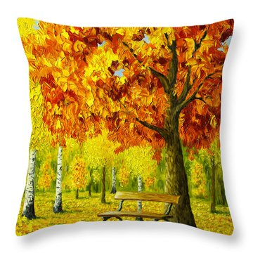 Bench Under The Maple Tree Throw Pillow