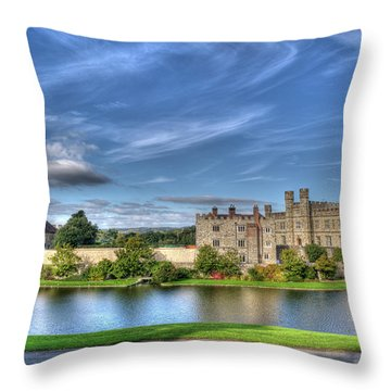Bench View Of Leeds Castle Throw Pillow