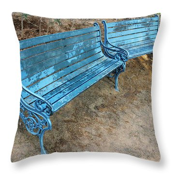 Benches And Blues Throw Pillow by Prakash Ghai