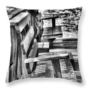 Benches By The Sea Throw Pillow