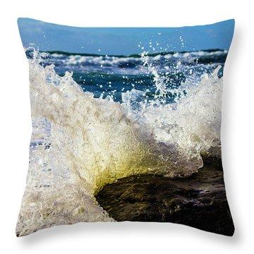 Wave Bending Backwards Throw Pillow