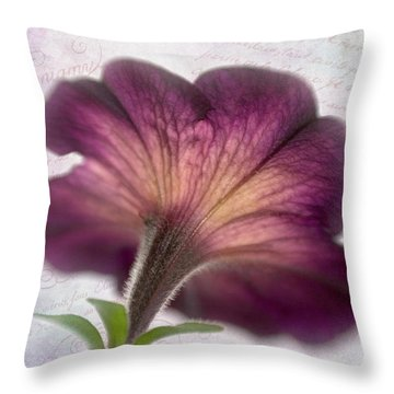 Throw Pillow featuring the photograph Beneath A Dreamy Petunia by David and Carol Kelly