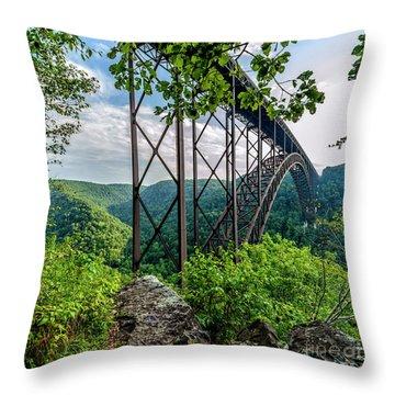 Beneath New River Gorge Bridge Throw Pillow
