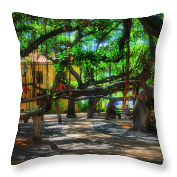 Beneath The Banyan Tree Throw Pillow by DJ Florek
