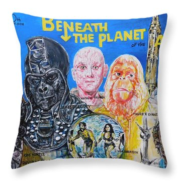 Beneath The Planet Of The Apes - 1970 Lobby Card That Never Was Throw Pillow