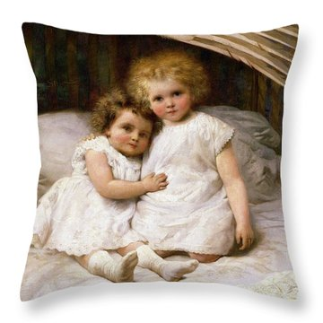 Beneath The Wing Of An Angel Throw Pillow by William Strutt