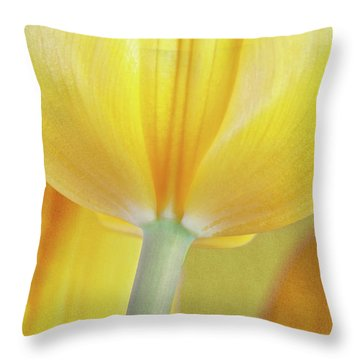 Beneath The Yellow Tulip Throw Pillow by Tom Mc Nemar