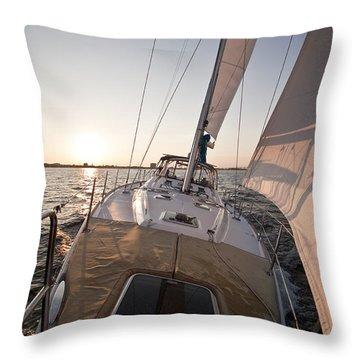 Beneteau 49 Sailing Yacht Close Hauled Charleston Sunset Sailboat Throw Pillow by Dustin K Ryan