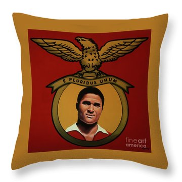 Benfica Lisbon Painting Throw Pillow by Paul Meijering