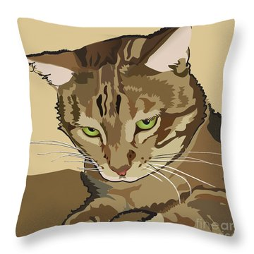 Bengal Kitty Pet Portrait Throw Pillow