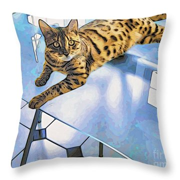 Bengal Tiger Cat On Table Throw Pillow