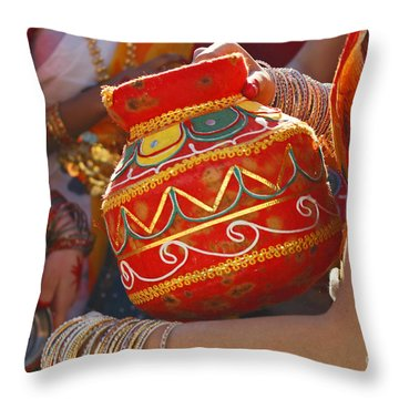 Bengali Maiden Dancers With Water Jars Throw Pillow by Charline Xia