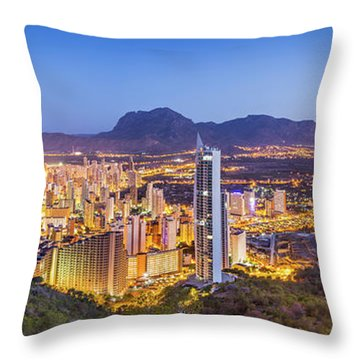 Throw Pillow featuring the photograph Benidorm At Sunrise, Spain. by Gary Gillette