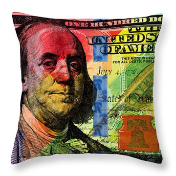 Benjamin Franklin $100 Bill - Full Size Throw Pillow