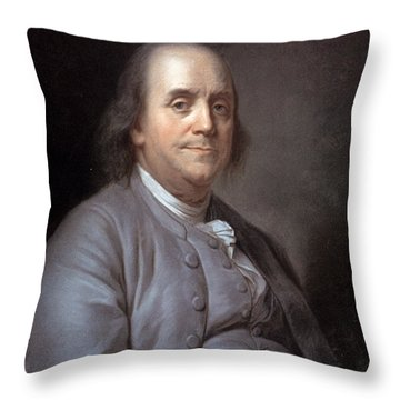 Benjamin Franklin Throw Pillow by Granger