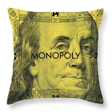 Benjamin Franklin Monopoly Gold Throw Pillow