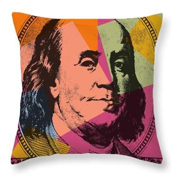 Benjamin Franklin Pop Art Throw Pillow