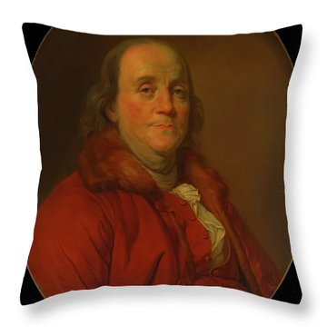 Throw Pillow featuring the painting Benjamin Franklin by Workshop Of Joseph Duplessis
