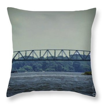 Benjamin Harrison Memorial Draw Bridge Throw Pillow