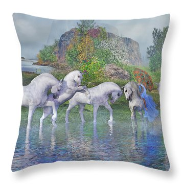 Benjamin's Velveteen Horses Throw Pillow
