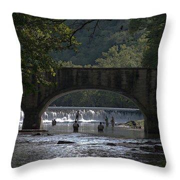 Bennett Springs Bridge Throw Pillow by Julie Grace