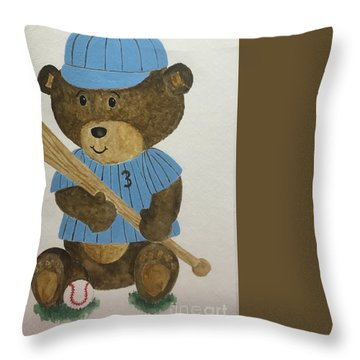 Throw Pillow featuring the painting Benny Bear Baseball by Tamir Barkan