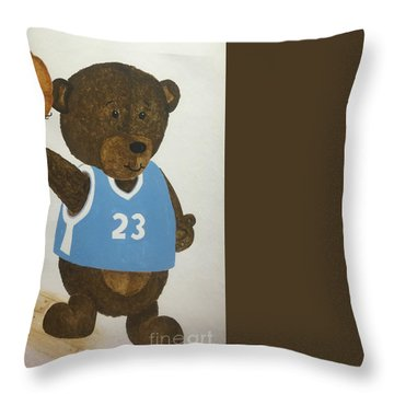 Throw Pillow featuring the painting Benny Bear Basketball  by Tamir Barkan