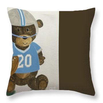 Throw Pillow featuring the painting Benny Bear Football by Tamir Barkan