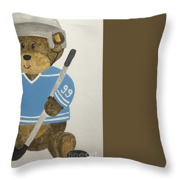Throw Pillow featuring the painting Benny Bear Hockey by Tamir Barkan