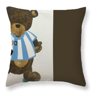 Throw Pillow featuring the painting Benny Bear Soccer by Tamir Barkan