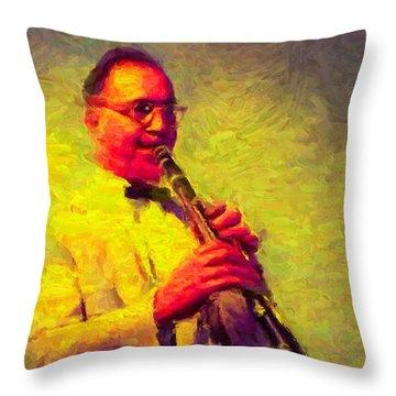 Benny Goodman Throw Pillow by Caito Junqueira