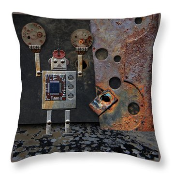 Benny Shows His Strength Throw Pillow by Joan Ladendorf