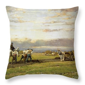 Bent Over The Earth Throw Pillow