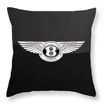 Bentley - 3 D Badge On Black Throw Pillow
