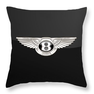 Bentley - 3 D Badge On Black Throw Pillow
