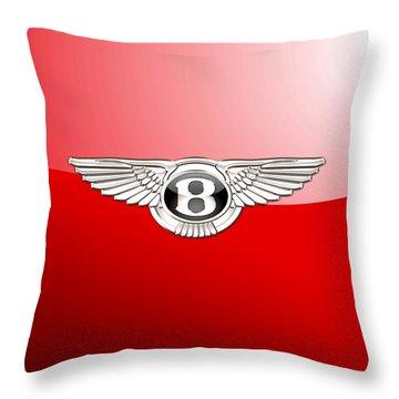 Bentley 3 D Badge On Red Throw Pillow