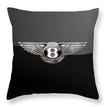 Bentley - 3d Badge On Black Throw Pillow
