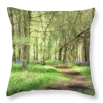 Bentley Woods, Warwickshire #landscape Throw Pillow by John Edwards