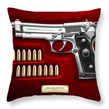 Beretta 92fs Inox Over Red Velvet Throw Pillow