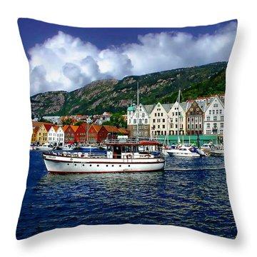 Bergen - Norway Throw Pillow